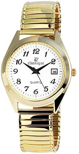 Classique Herrenuhr mit Metallzugband Weiss Armbanduhr Uhr RP1330200002