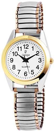Classique Damen Analog Armbanduhr mit Quarzwerk RP2112000003 und Metallgehaeuse mit Metallzugband in mehrfarbig Ziffernblattfarbe Weiss Armbandbreite 14 mm