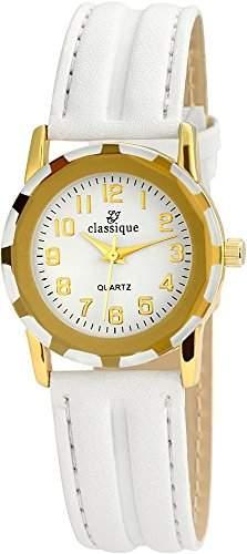 Classique Damenuhr Lederimitationarmband Armabnd Weiss RP3550200001