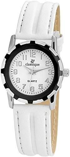 Classique Damenuhr mit Lederimitationarmband Weiss Armbanduhr Uhr RP3552200001