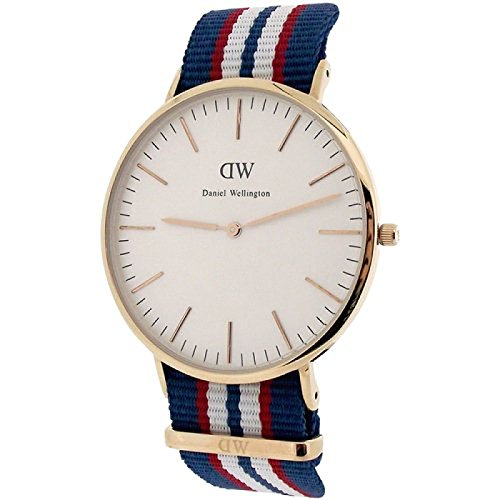 Daniel Wellington Classic Belfast Uhr 40mm blau weiss rotes NATO Armband