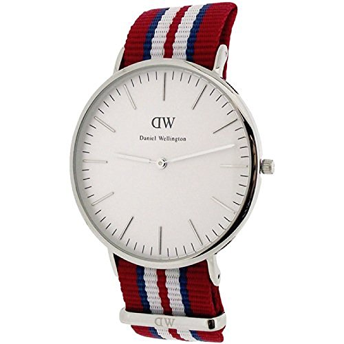 Daniel Wellington Classic Exeter 40 mm rot weiss blau NATO Strap Armbanduhr