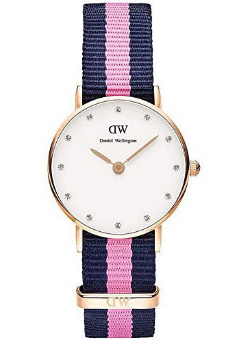 Daniel Wellington 26mm Armband Textil Multicolor Gehaeuse Edelstahl Quarz Analog 0906DW