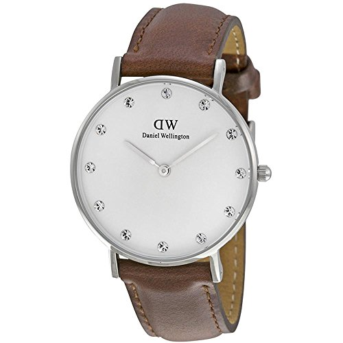 Daniel Wellington 34mm Armband Leder Braun Quarz Zifferblatt Weiss Analog 0960DW