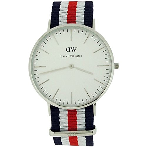 Daniel Wellington 40mm Armband Nylon Multicolor Gehaeuse Edelstahl Quarz Analog 0202DW