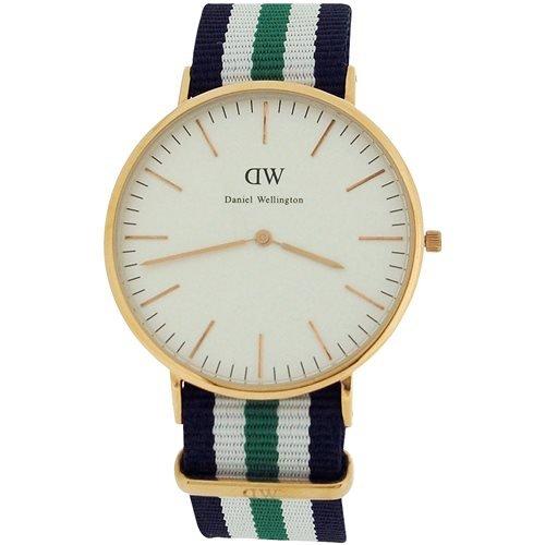 Daniel Wellington Herren Weiss Zifferblatt blau weiss und gruen Nylon Gurt Armbanduhr 0108DW