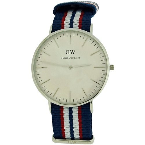Daniel Wellington Herren Weiss Zifferblatt rot weiss blau Nylon Armbanduhr 0213DW