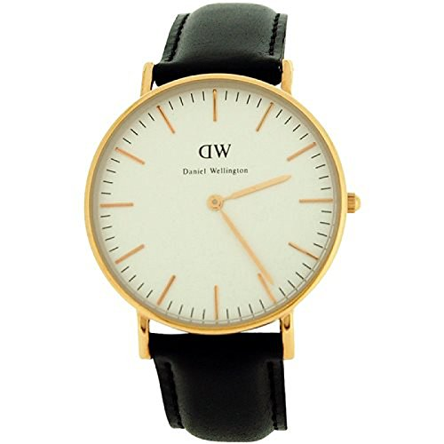Daniel Wellington Classic Sheffield rose 36 mm schwarz Lederband Armbanduhr 0508DW
