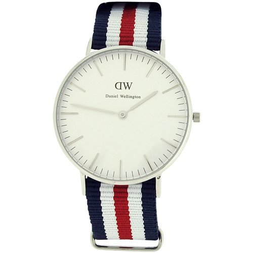 Daniel Wellington Damen weiss Zifferblatt rot weiss blau Nylon Armbanduhr 0606DW