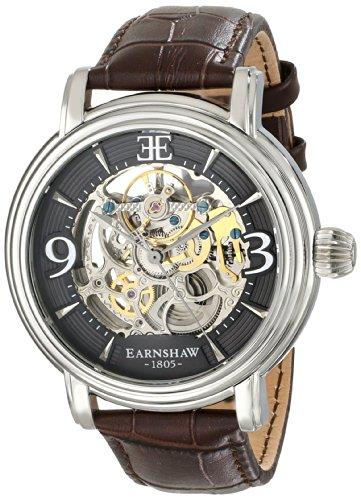 EarnShaw Longcase 48mm Armband Leder Braun Gehaeuse Edelstahl Handaufzug Analog 8011 02