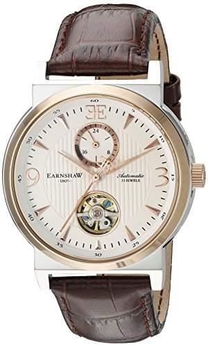 Thomas Earnshaw Providence Herren Automatik Uhr mit weissem Zifferblatt Analog-Anzeige und braunem Lederband es-8012-04