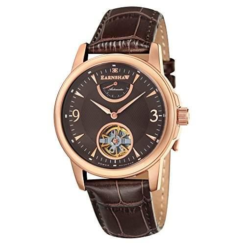 Thomas Earnshaw Flinders Power Reserve Herren Automatik Uhr mit Braun Zifferblatt Analog-Anzeige und braunem Lederband es-8014-06
