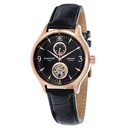 Thomas Earnshaw Flinders ausgesetzt Balance Rad Herren Automatik Uhr mit schwarzem Zifferblatt Analog-Anzeige und schwarz Lederband es-8023-04