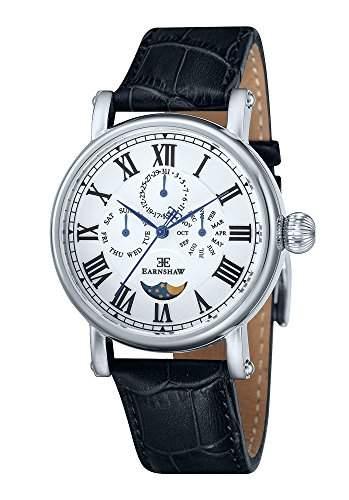 Thomas Earnshaw Multifunktions-Maskelyne MenQuarz-Uhr mit weissem Zifferblatt Analog-Anzeige und schwarzem Lederarmband 8031-01 ES -