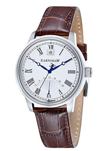 Thomas Earnshaw-es-8033-01-Cornwall-Armbanduhr-Quarz Analog-Weisses Ziffernblatt-Armband Leder braun