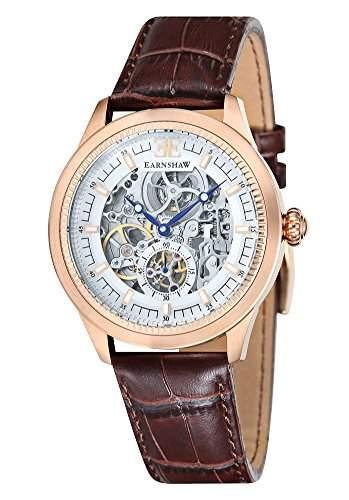 Thomas Earnshaw Academy Herren Skelett-Armbanduhr ES-8039-04 Analog Automatik weißes Zifferblatt und braunes Lederband