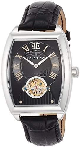 Thomas Earnshaw Robinson Herrenuhr mit schwarzem analogen Zifferblatt und schwarzem Lederarmband ES-8044-01