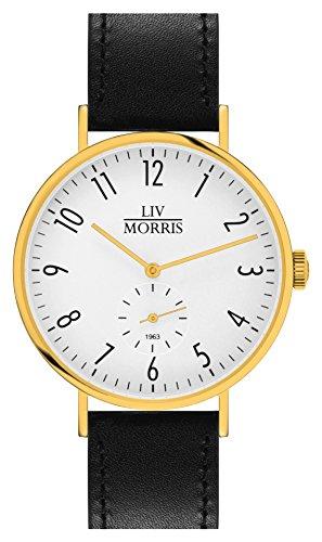 LIV MORRIS 1963 Modell CALYPSO im Bauhaus Stil gehaltene Herrenuhr 41mm feine Automatikuhr massiv Edelstahl vergoldet Saphirglas mechanisches SeaGull Automatik Uhrwerk