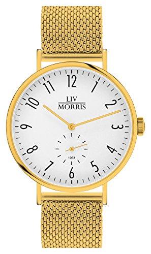 LIV MORRIS 1963 Modell CALYPSO MESH im Bauhaus Stil gehaltene Herrenuhr 41mm feine Automatikuhr massiv Edelstahl vergoldet Saphirglas mechanisches SeaGull Automatik Uhrwerk