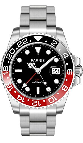 PARNIS 2034 BLACK RED GMT Saphirglas Keramikluenette Datumsanzeige 40mm massiv Edelstahl 5BAR