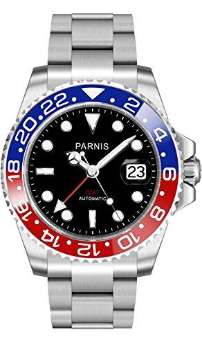 PARNIS GMT Automatikuhr 2034 RED BLUE Edelstahl 40mm Saphirglas 5BAR Edelstahlarmband Markenuhrwerk Datumsanzeige