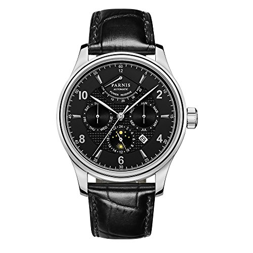 PARNIS Complication 2118 Automatik Edelstahl Armbanduhr Lederarmband MIYOTA Schnellschwinger Kaliber 9100 mit Vollkalender und Gangreserve Anzeige