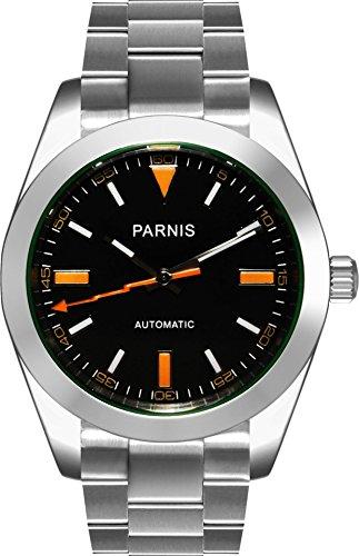 PARNIS 2095 Automatikuhr 39mm Saphirglas massiv Edelstahl 5BAR schwarz orange