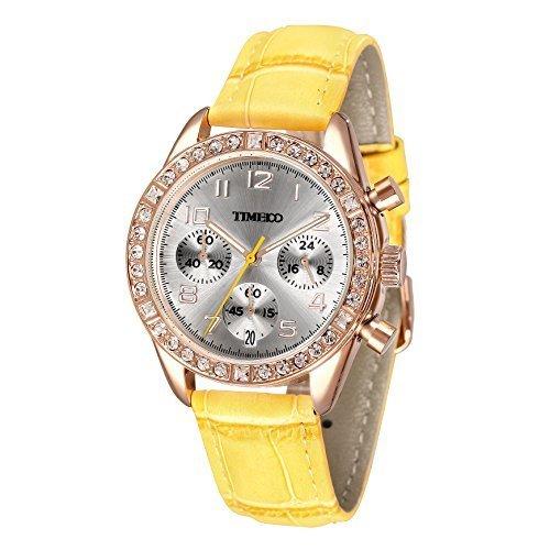 Time100 Armbanduhr Quarzuhr Kinderuhr Leder W50298L 04A