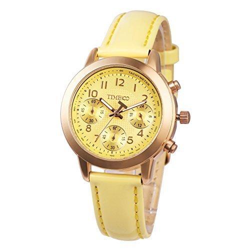 Time100 Armbanduhr Quarzuhr Gelb Leder W70073L 06A