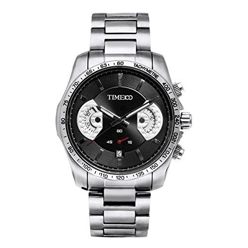 Time100 Quarz Uhr Sportuhr fuer Mann mit Datumszeiger Edelstahl Schwarz 5 Bar Wasserdicht W70001G 02A