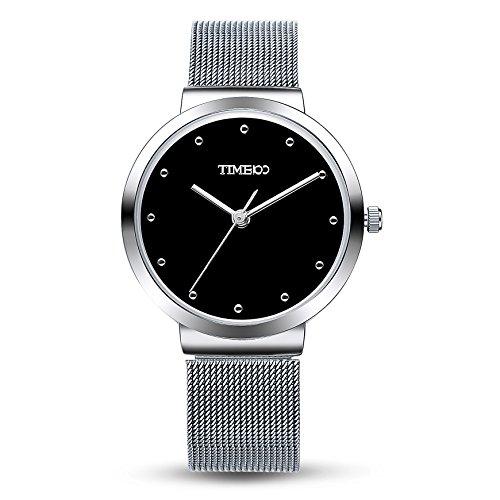 Time100 Armbanduhr Quarzuhr Anlaloguhr Edelstahl Silber Schwarz W50199G 01A