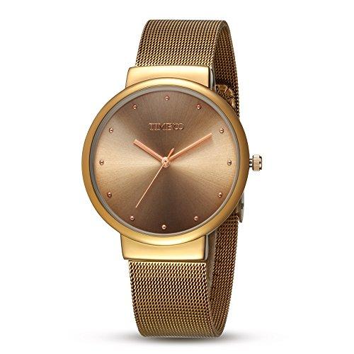 Time100 Armbanduhr Quarzuhr Anlaloguhr Edelstahl Gold W50199G 02A