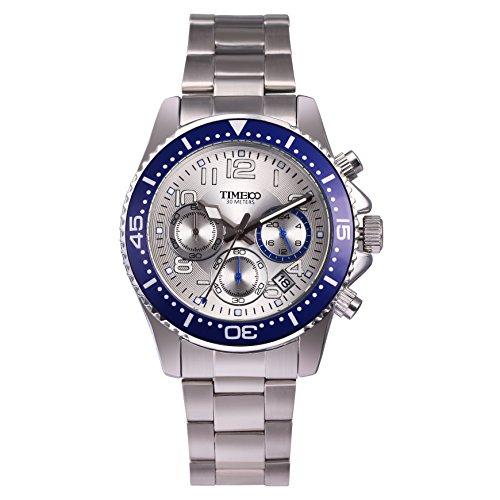 Time100 Armbanduhr Quarzuhr Chronographuhr Blau W70076G 03A