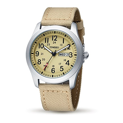 Time100 Armbanduhr Quarzuhr Analog Uhr Leinwand braun W80059G 02A
