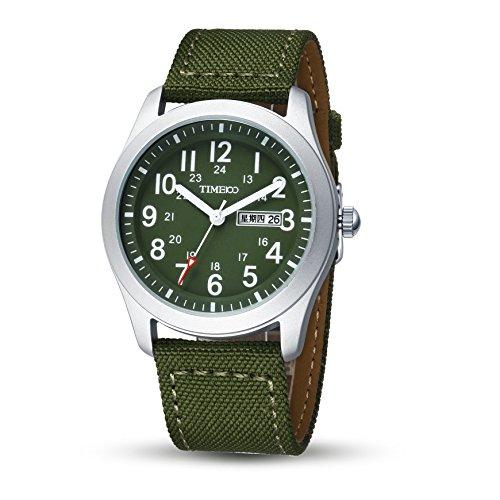Time100 Armbanduhr Quarzuhr Analog Uhr Leinwand gruen W80059G 03A