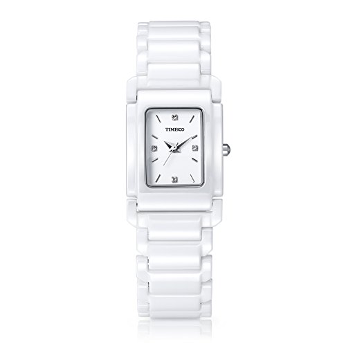 Time100 NEU Moderne Damen Keramik Armbanduhr Quarzuhr Quadratisch Schwarz W50356L 02A