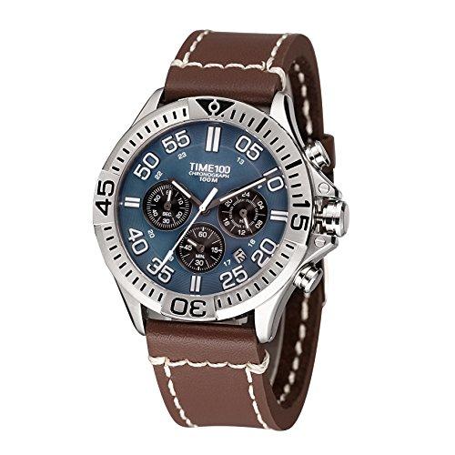 Time100 Chronographuhr Armbanduhr Quarzuhr mit Datumsanzeiger Blau W70104G 03A