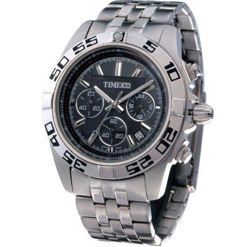 Time100 uhr Quarzuhr Edelstahl mit 3 kleinen Zifferblaetter Schwarz 5 Bar Wasserdicht W70002G 01A