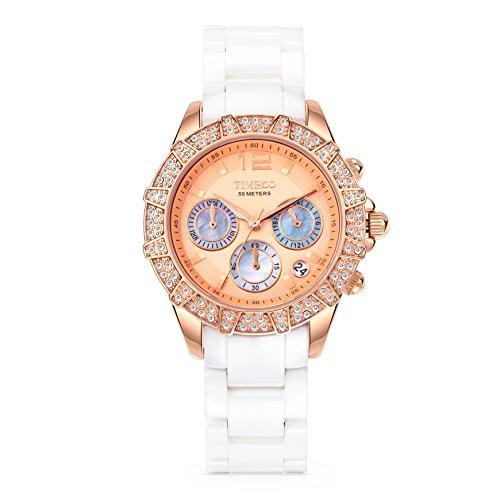 Time100 Elegant Keramik Uhr Choronophuhr Armbanduhr mit Strass Weiss Rosegold W50056L 02A