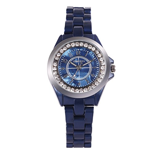 Time100 dekoratives Zifferblatt Keramik Armbanduhr Quarz Analog Uhr Blau W50297L 03A