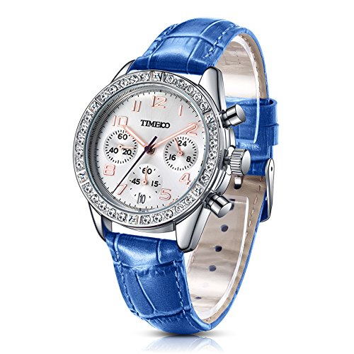 Time100 Leder Band dekoratives Zifferblatt mit Strass Armbanduhr Quarz Analog Uhr Blau W50298L 10A