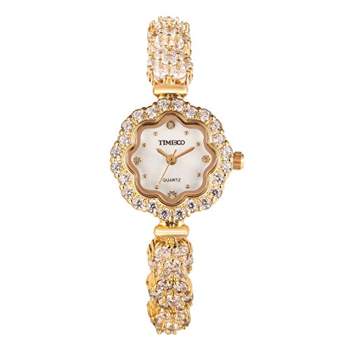 Time100 dekoratives Zifferblatt kuerzerer Band Armbanduhr Quarz Analog Uhr Gold W50532L 02A