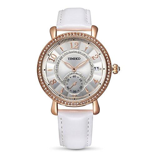 Time100 Leder Band dekoratives Zifferblatt mit Strass Armbanduhr Quarz Analog Uhr Weiss W80100L 01A