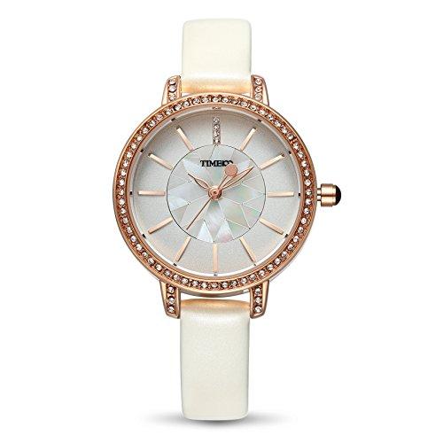 Time100 Leder Band dekoratives Zifferblatt mit Strass Armbanduhr Quarz Analog Uhr Weiss W80114L 01A