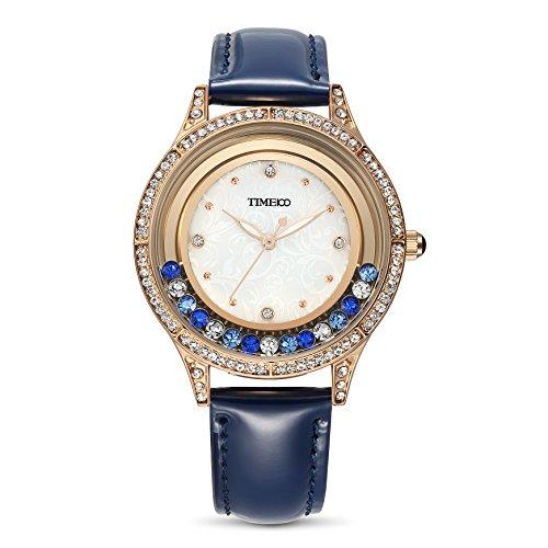 Time100 Leder Band dekoratives Zifferblatt mit Strass Armbanduhr Quarz Analog Uhr Schwarz W80115L 01A