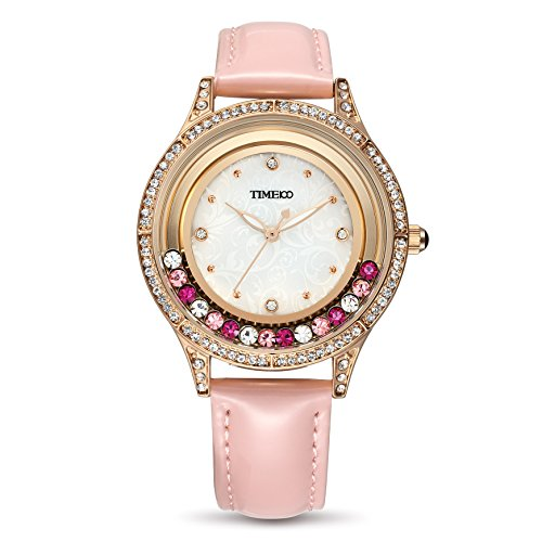 Time100 Leder Band dekoratives Zifferblatt mit Strass Armbanduhr Quarz Analog Uhr Pink W80115L 03A