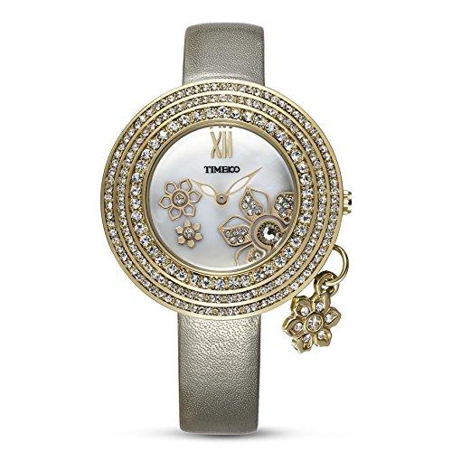Time100 Leder Band dekoratives Zifferblatt mit Strass Armbanduhr Quarz Analog Uhr Gold W80124L 03A