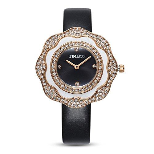 Time100 Leder Band dekoratives Zifferblatt mit Strass Armbanduhr Quarz Analog Uhr Schwarz W80133L 02A
