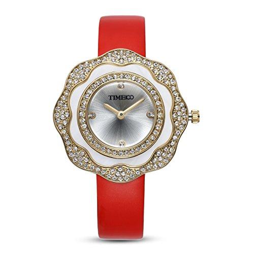 Time100 Leder Band dekoratives Zifferblatt mit Strass Armbanduhr Quarz Analog Uhr Rot W80133L 05A