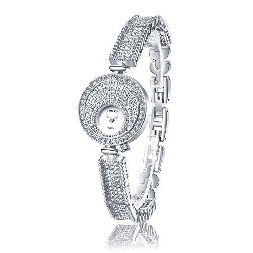Time100 NEU Rund Strass Klein Zifferblatt Armbanduhr Quarzuhr Uhr Silber W50367L 01A